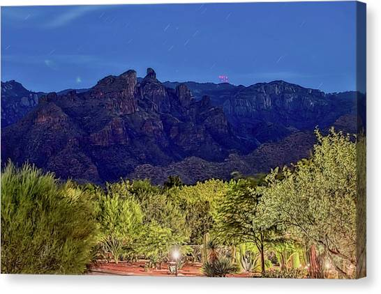 Canvas Print featuring the photograph Thimble Peak At Night Textured by Dan McManus