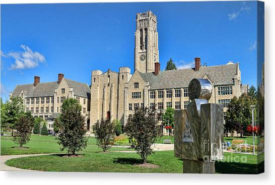 Ohio University Canvas Print - Thinker And The University Hall University Of Toledo  6220 by Jack Schultz
