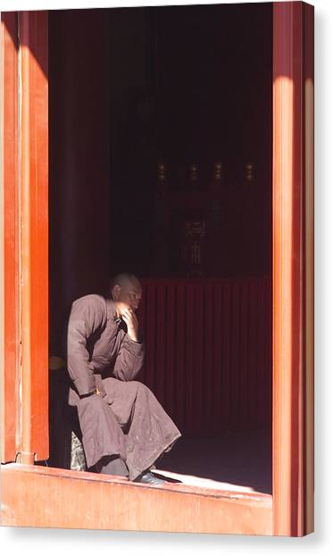 Temple Canvas Print - Thinking Monk by Sebastian Musial