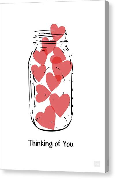 Hearts Canvas Print - Thinking Of You Jar Of Hearts- Art By Linda Woods by Linda Woods