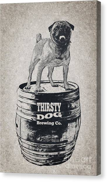 Craft Beer Canvas Print - Thirsty Dog Brewing Co. Keg by Edward Fielding