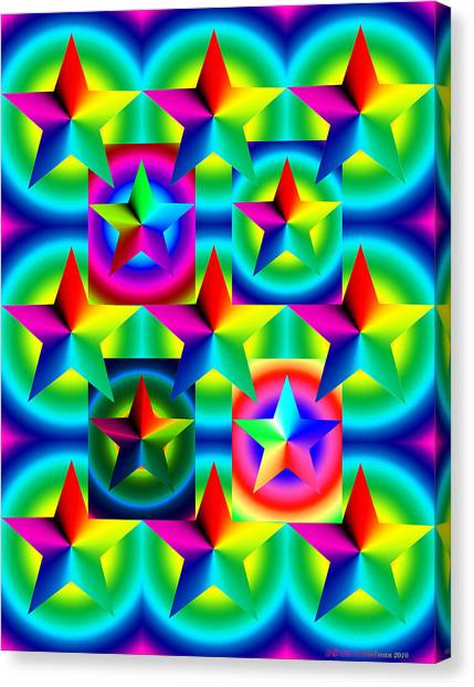 Thirteen Stars With Ring Gradients Canvas Print