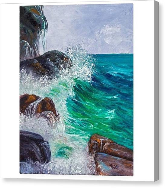 Oceans Canvas Print - This 11x14 Oil Painting waves On by Darice Machel McGuire