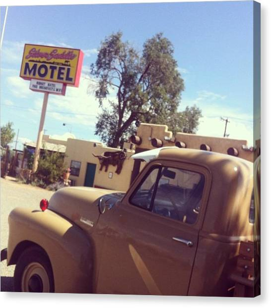 Saddles Canvas Print - Silver Saddle Motel, Santa Fe by Laurie White