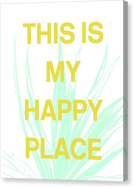 Mustard Canvas Print - This Is My Happy Place- Art By Linda Woods by Linda Woods