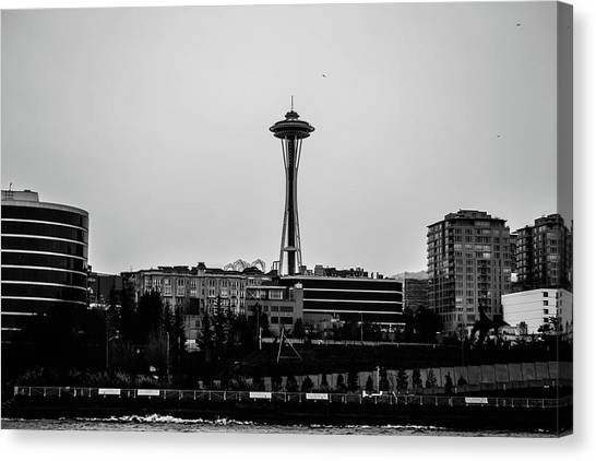 This Is Seattle Black And White Canvas Print