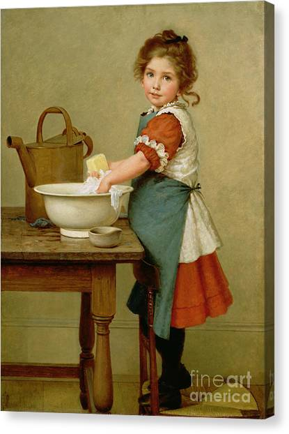 Wash Basin Canvas Print - This Is The Way We Wash Our Clothes  by George Dunlop Leslie