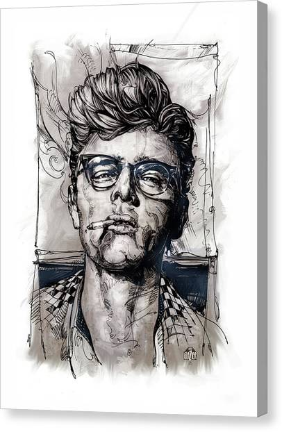 James Dean Canvas Print - This James Dean Inking And Painting by Garth Glazier