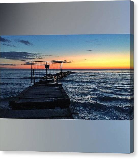 Beach Sunrises Canvas Print - This Morning's #sunrise At by Andrew Slater