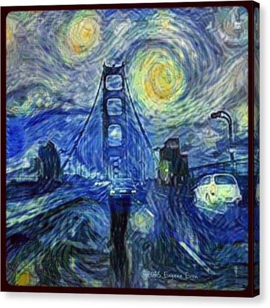 Starry Night Canvas Print - Starry Night At The Golden Gate Bridge by Eugene Evon