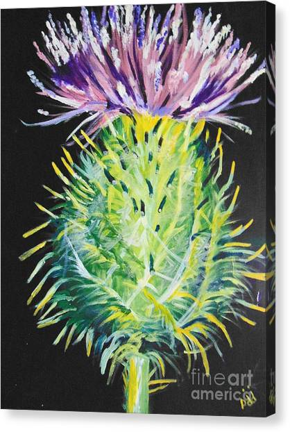 Canvas Print featuring the painting Thistle by Saundra Johnson