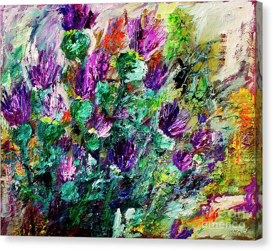 Thistles Impressionist Oil Painting Canvas Print