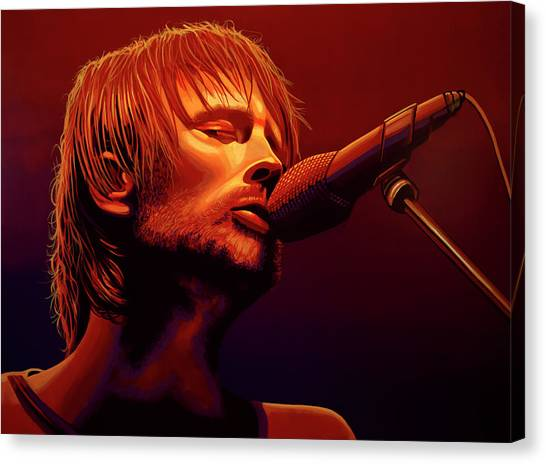 Drums Canvas Print - Thom Yorke Of Radiohead by Paul Meijering