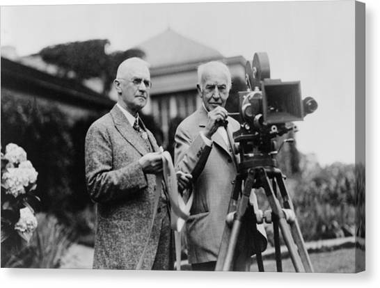 Movies Canvas Print - Thomas Edison 1847-1931 And George by Everett