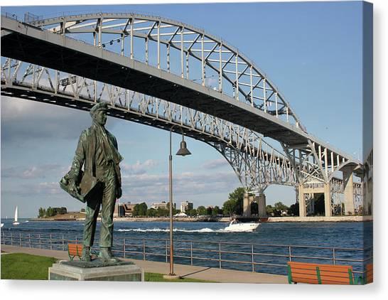 Thomas Edison And Blue Water Bridge 1 Canvas Print