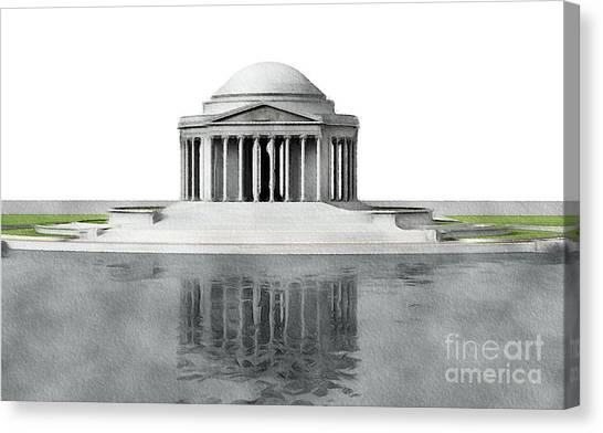 Washington Monument Canvas Print - Thomas Jefferson Memorial, Washington by John Springfield
