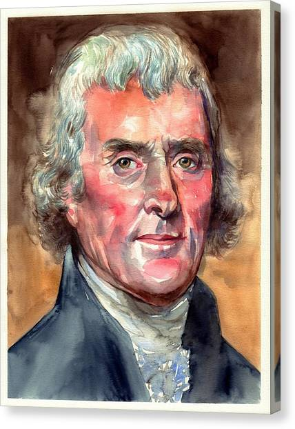 Thomas Jefferson Canvas Print - Thomas Jefferson Portrait by Suzann's Art
