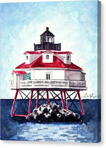 Beach Style Canvas Print - Thomas Point Shoal Lighthouse Annapolis Maryland Chesapeake Bay Light House by Laura Row