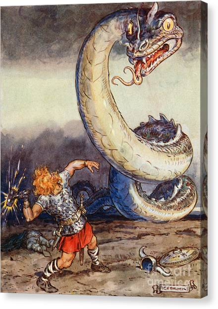 Mythological Creatures Canvas Print - Thor Went Forth Against Jormungand by Charles Edmund Brock
