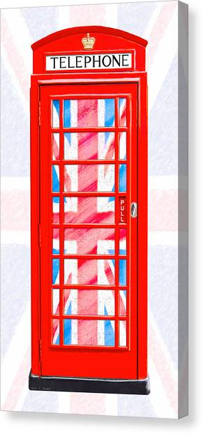 London Canvas Print - Thoroughly British Flair - Classic Phone Booth by Mark E Tisdale