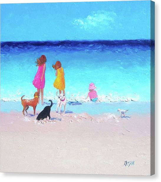 Children And Dog Canvas Print - Those Summer Days by Jan Matson