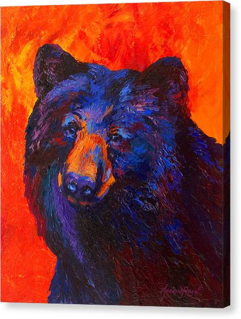 Wild West Canvas Print - Thoughtful - Black Bear by Marion Rose