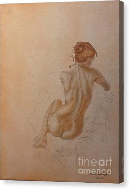 Thoughtful Nude Lady Canvas Print