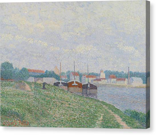 Divisionism Canvas Print - Three Barges Moored On The Edge Of An Industrial City by Albert Dubois-Pillet