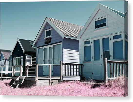 Three Beach Huts Blue Canvas Print