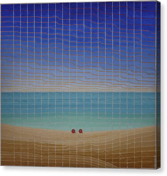 Three Beach Umbrellas Canvas Print