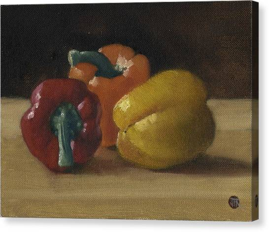Three Bell Peppers Canvas Print