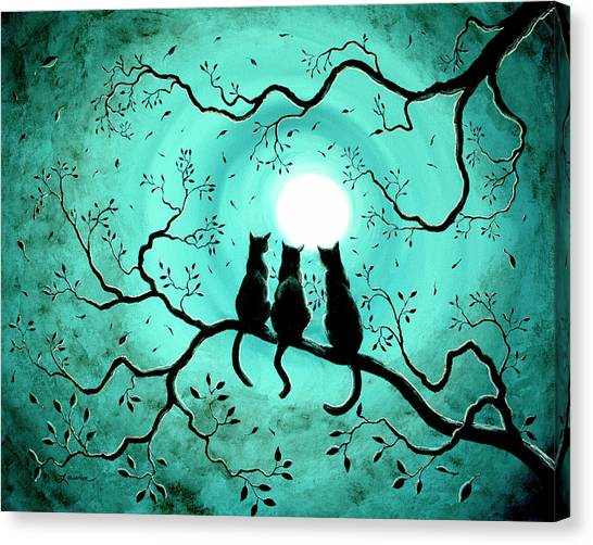 Silhouette Canvas Print - Three Black Cats Under A Full Moon by Laura Iverson