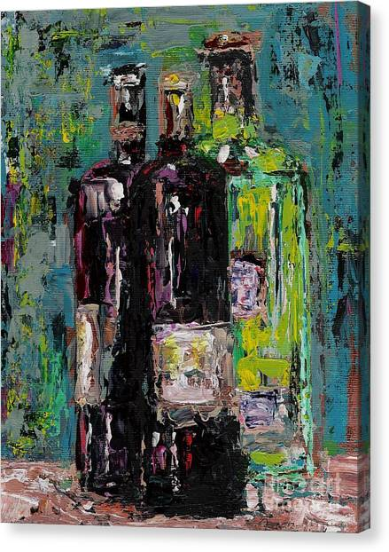 Three Bottles Of Wine Canvas Print