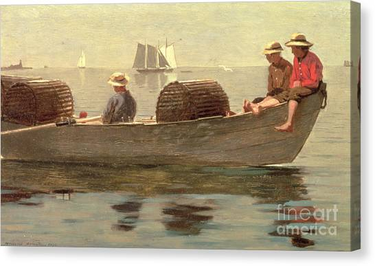 Lobster Canvas Print - Three Boys In A Dory by Winslow Homer