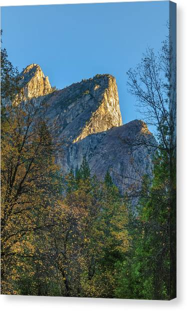 Yosemite Falls Canvas Print - Three Brothers In Autumn by Joseph Smith