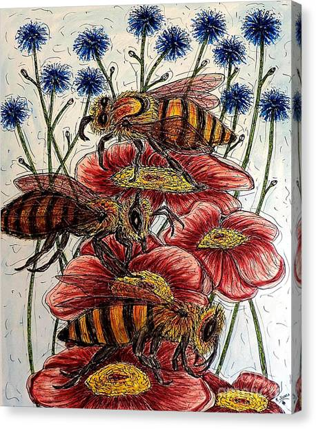 Three Busy Bees Canvas Print