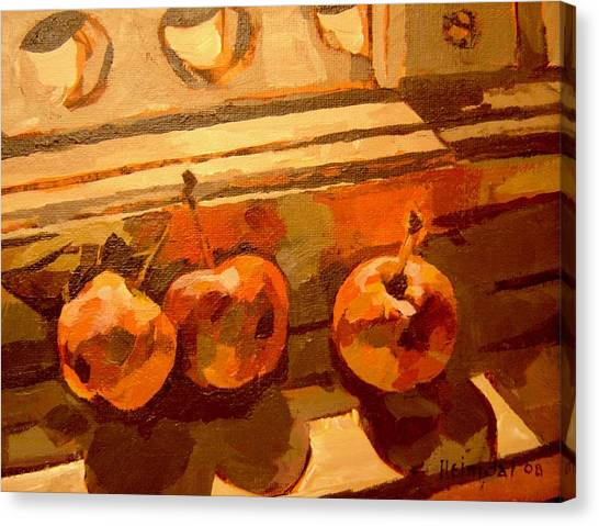 Three Crabapples On A Window Sill Canvas Print by Tim  Heimdal