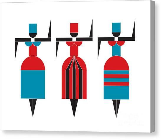 Suprematism Canvas Print - Three Dancers by Igor Kislev