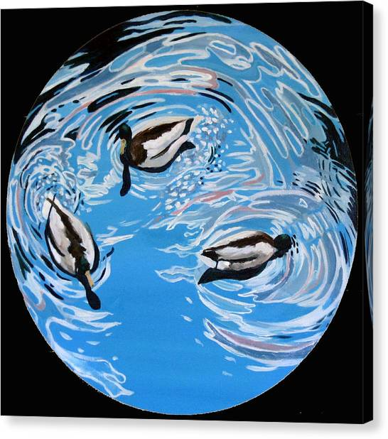 Three Ducks Canvas Print by Art Nomad Sandra  Hansen