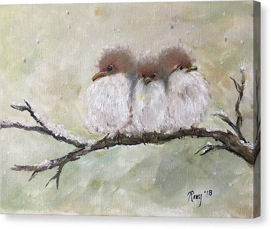 Large Birds Canvas Print - Three Fat Little Fluffballs by Roxy Rich