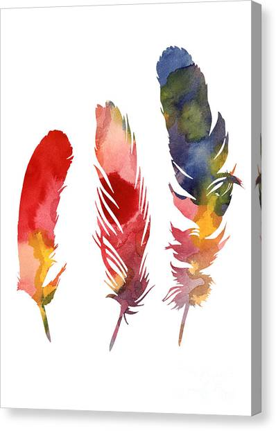 Colorful Canvas Print - Three Feather Watercolor Poster by Joanna Szmerdt