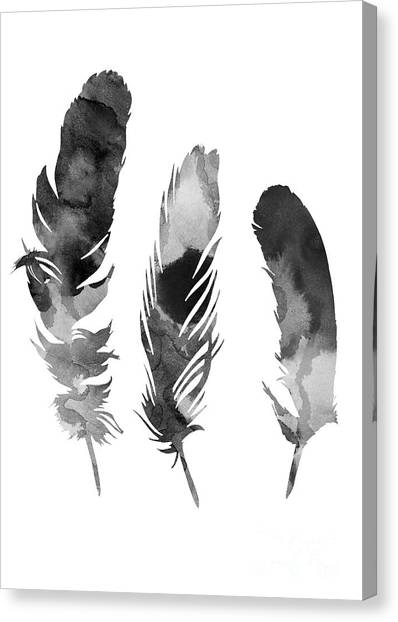 Birthday Canvas Print - Three Feathers Silhouette by Joanna Szmerdt