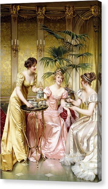 Tea Set Canvas Print - Three For Tea by Joseph Frederic Charles Soulacroix