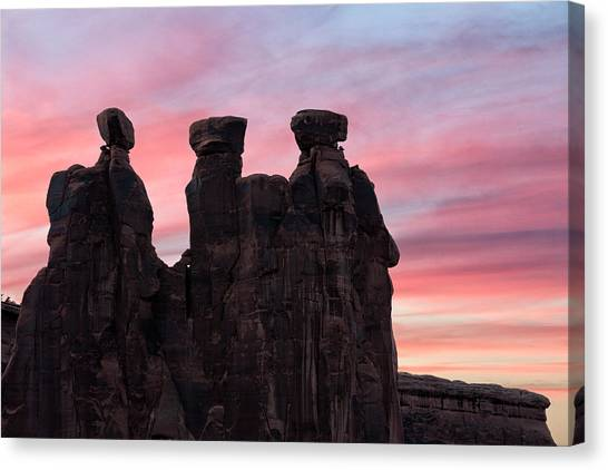 Canvas Print featuring the photograph Three Gossips At Sunset by Denise Bush