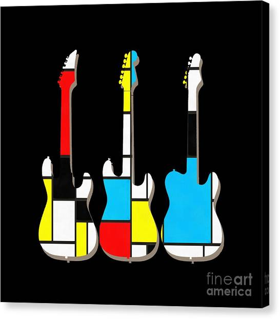 Electric Guitars Canvas Print - Three Guitars Modern Tee by Edward Fielding