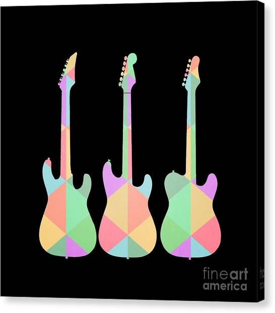 Electric Guitars Canvas Print - Three Guitars Triangles Tee by Edward Fielding