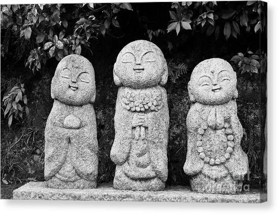 Buddha Canvas Print - Three Happy Buddhas by Dean Harte