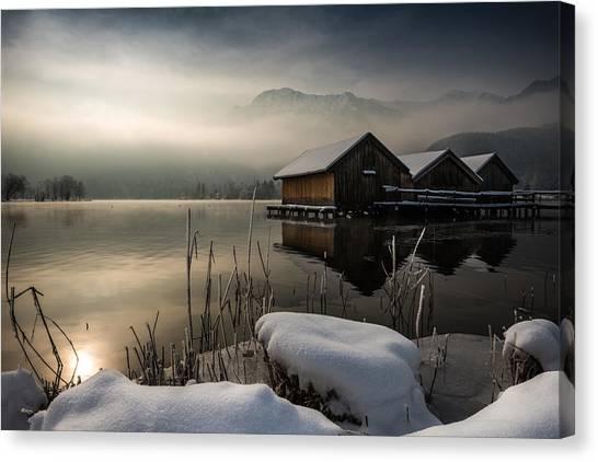 Fog Canvas Print - Three Huts by Nina Pauli