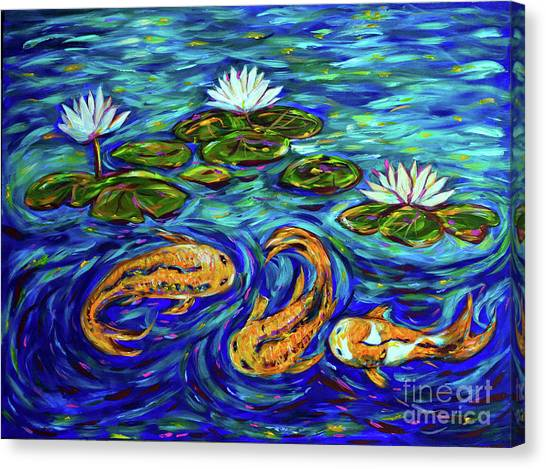 Three Koi And Lilies Canvas Print