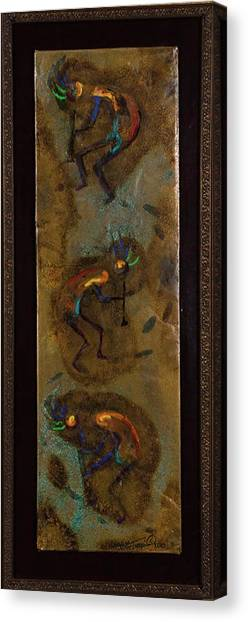 Three Kokopelli Canvas Print